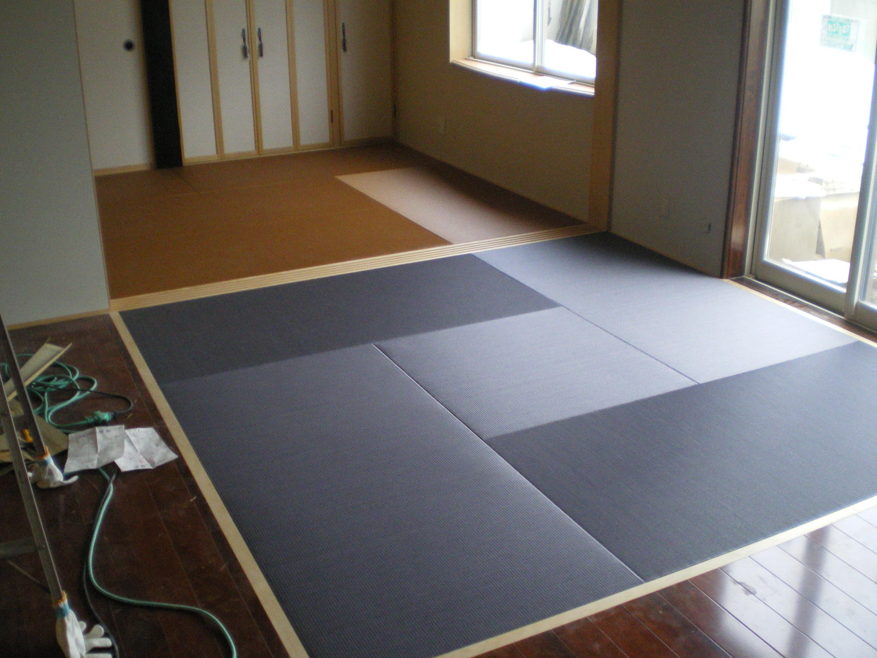 へりなし琉球畳(1畳サイズ・グレー、ブラウン)