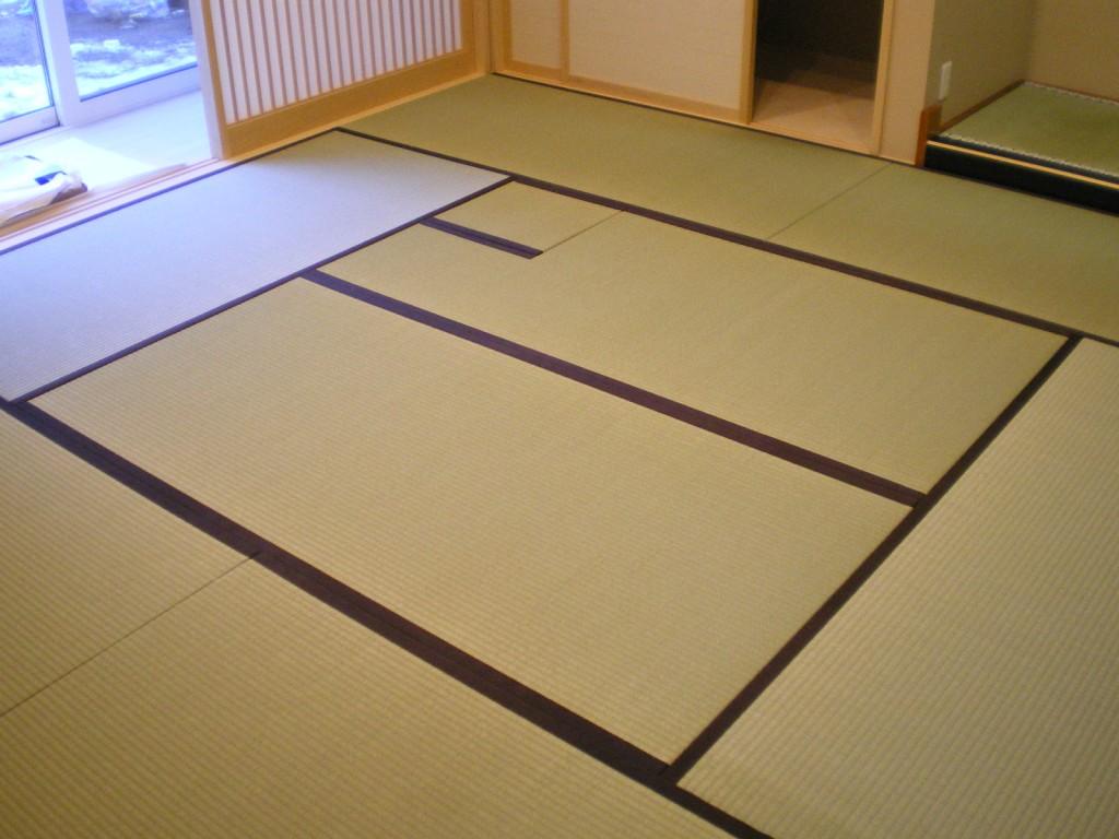 お茶室新畳+へりなし琉球畳(亜麻色)
